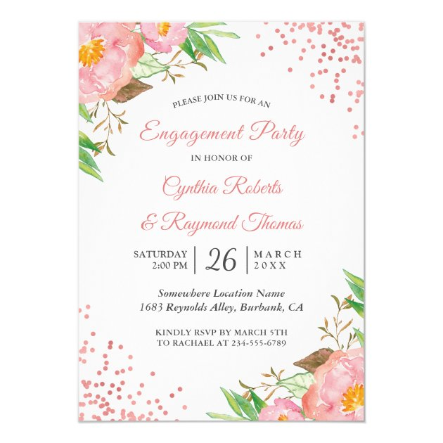 Botanical Blush Pink Floral Chic Engagement Party Card