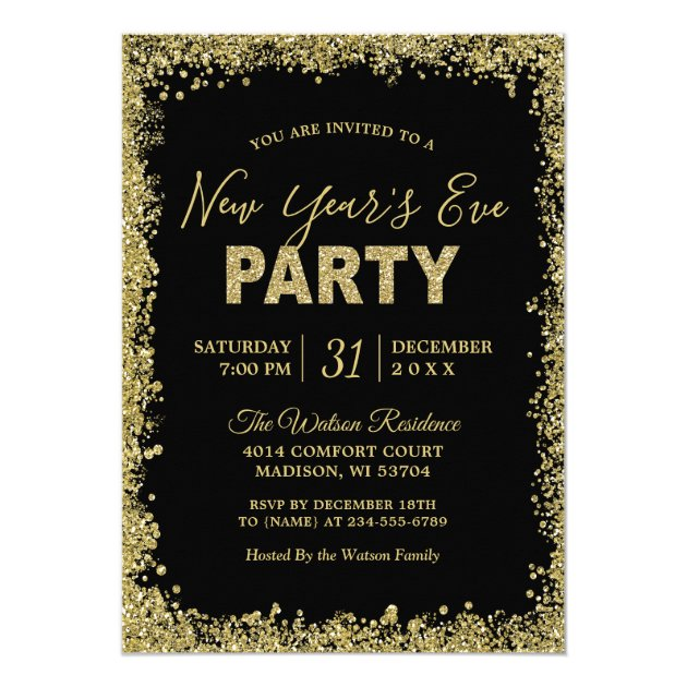 Gold Glitters Border Typography New Year's Party Card