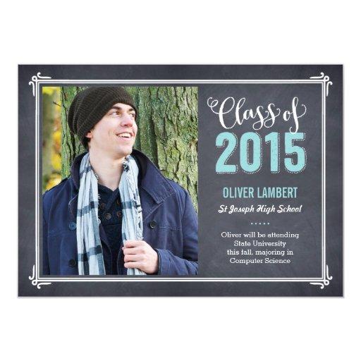 """Chalkboard Delight Graduation Announcement Blue 5"""" X 7"""" Invitation Card"""