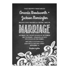Chalkboard and Lace Rustic Wedding Invitations