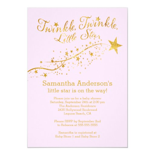 "Modern Gold Little Star Baby Shower Invitation 5"" X 7"" Invitation Card"