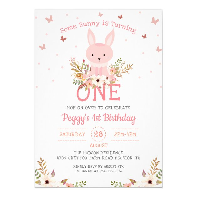 Pink Some Bunny Girl 1st Birthday Invitation (back side)