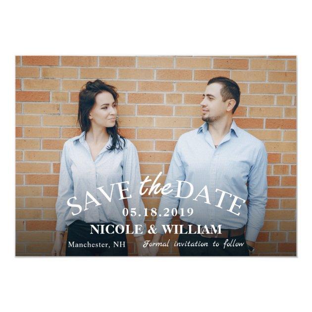 Stylish Light Blue Wedding Save The Date Photo Card (back side)