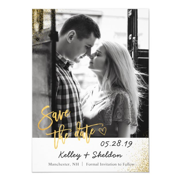 Modern White & Gold Wedding Save The Date Photo Card (back side)