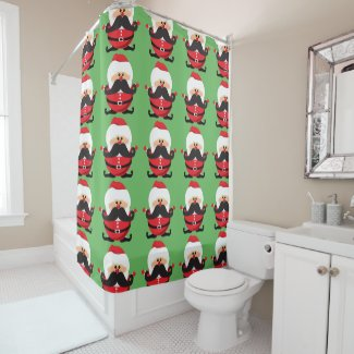 Mustache Santa Claus Shower Curtain
