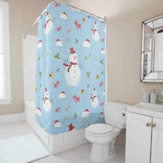 Snowman Pattern Shower Curtain