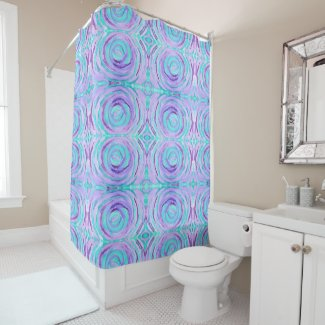 Watercolor Purple Turquoise Swirl Abstract Painted Shower Curtain