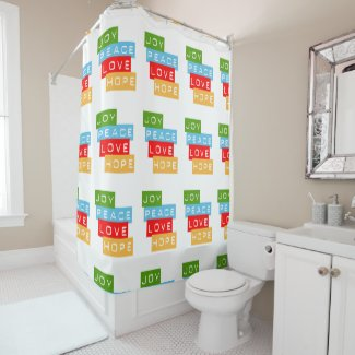 Joy Peace Love Hope Shower Curtain