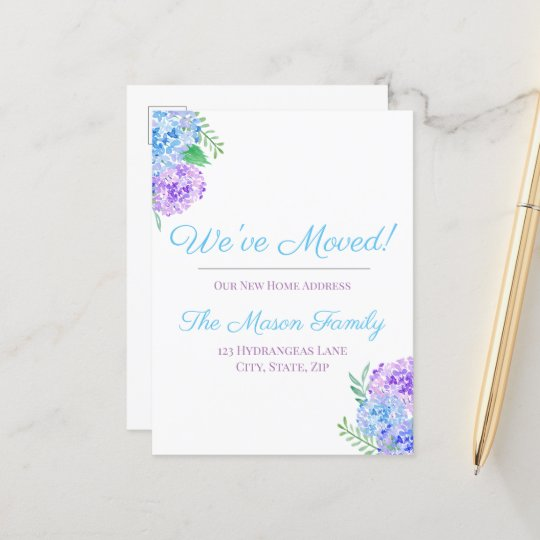 We've Moved Purple And Blue Watercolor Hydrangeas Announcement Postcard