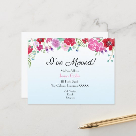 Watercolor Floral New Address Moving Announcement Postcard