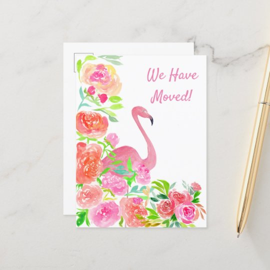 Watercolor We Have Moved Flamingo Address Announcement Postcard