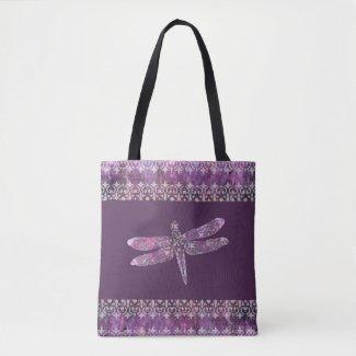 Purple Patina: Dragonfly Filigree Tote Bag