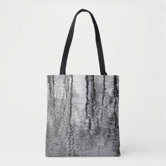 Black and Gray Tree Water Abstract Tote Bag