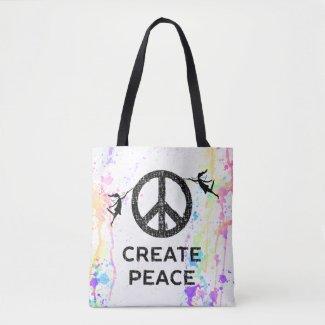 Art Fairies: Create Peace Watercolor Tote Bag