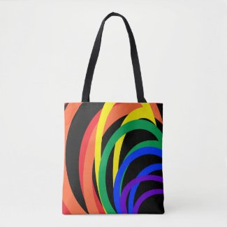 Red Orange Yellow Black Rainbow Abstract Tote Bag
