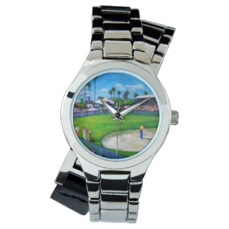 Silver Tone watch with a Golf Tournament scene