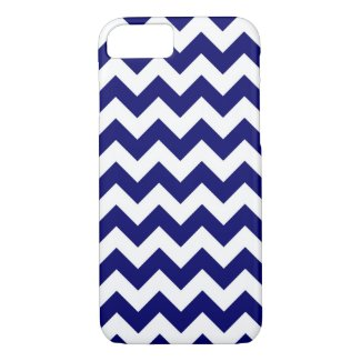 Navy and White Zigzag Pattern iPhone 7 Case