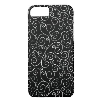 White Scrolling Curves on Black iPhone 7 Case
