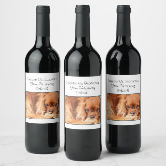 Congrats From Graduating Vet School CKCS Wine Label