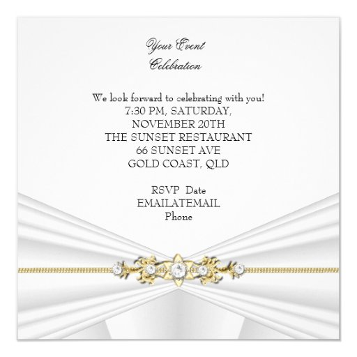 Silver White Gold Elegant Birthday Party 5.25x5.25 Square Paper Invitation Card (back side)