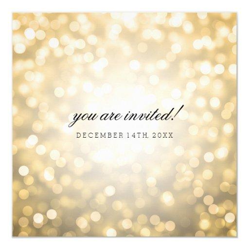Gold Bokeh Lights Elegant Wedding 5.25x5.25 Square Paper Invitation Card (back side)