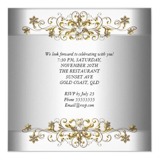 Elegant 25th Anniversary Silver White Gold Templat 5.25x5.25 Square Paper Invitation Card (back side)