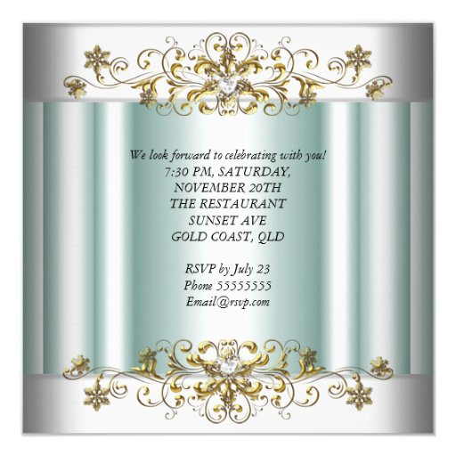 Elegant 25th Anniversary Silver Teal Blue Mint 5.25x5.25 Square Paper Invitation Card (back side)