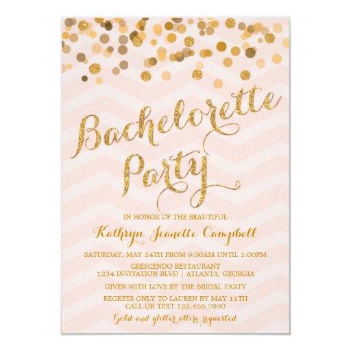 """Gold Glittering Confetti Bachelorette Party Invite 4.5"""" X 6.25"""" Invitation ..."""