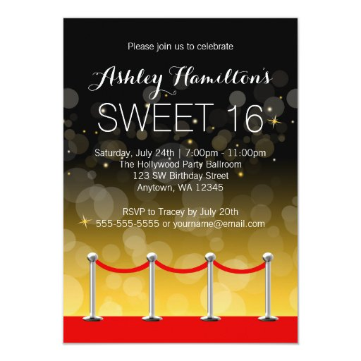Modern Silver Red Carpet Hollywood Sweet 16 4.5x6.25 Paper Invitation Card
