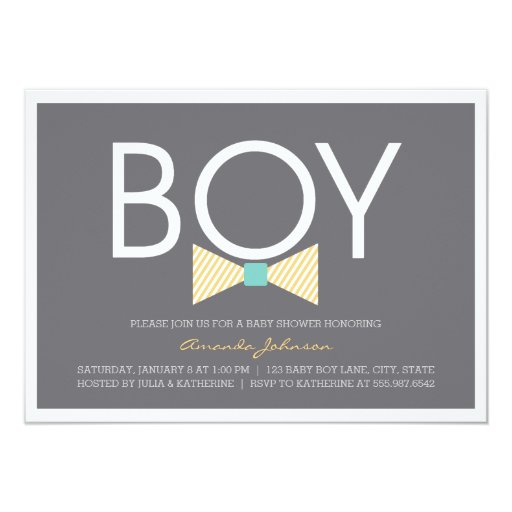 "Elegant Bow Tie Boy Baby Shower Invitations 4.5"" X 6.25"" Invitation Card"