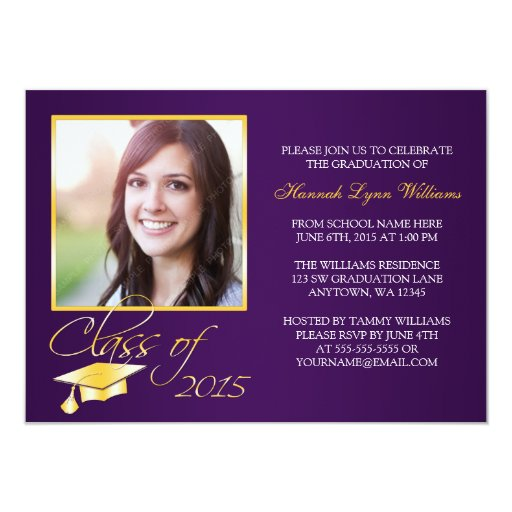 Elegant Purple Gold Photo Graduation Announcement