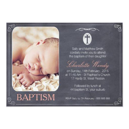 Girls Chalkboard Baptism invitation 11 Cm X 16 Cm Invitation Card