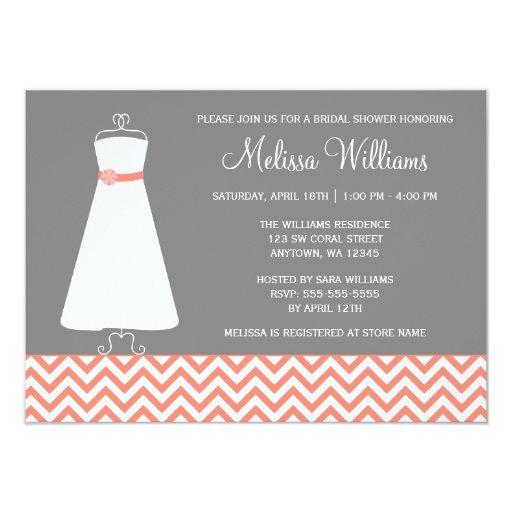 Modern Chevron Gown Coral Gray Bridal Shower 4.5x6.25 Paper Invitation Card
