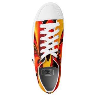 Orange Fury Fractal Printed Shoes
