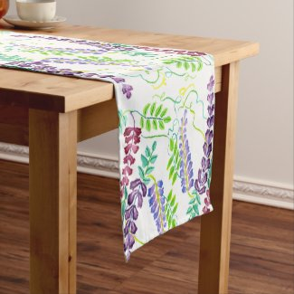Hand-Painted Watercolor Japanese Wisteria Flowers Short Table Runner