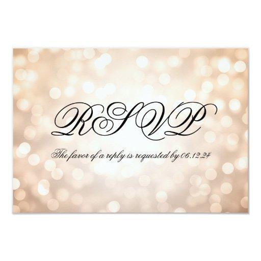 Copper Bokeh Lights Elegant Wedding RSVP 3.5x5 Paper Invitation Card (back side)