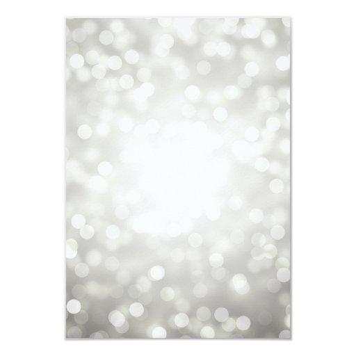Silver Bokeh Lights Elegant Wedding RSVP 3.5x5 Paper Invitation Card (back side)