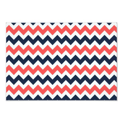 The Modern Chevron Wedding Collection Navy & Coral 3.5x5 Paper Invitation Card (back side)