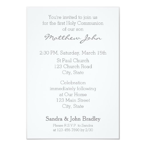 Modern First Holy Communion in Blue - Custom 3.5x5 Paper Invitation Card (back side)