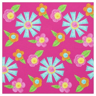 Colorful Watercolor Flowers Spring and Summer Fabric