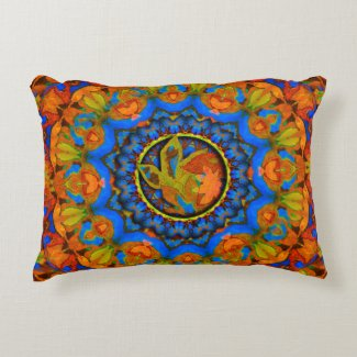 K185 Autumn on Blue Abstract Decorative Pillow