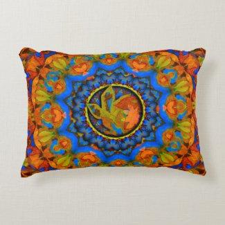 K185 Autumn on Blue Abstract Decorative Pillow