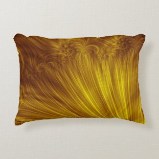 Golden Light Fractal Decorative Pillow