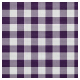 Bold Purple and White Gingham Plaid Fabric