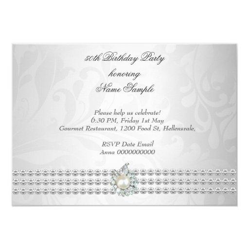 Elegant Birthday Party Silver White Diamond Pearl 4.5x6.25 Paper Invitation Card (back side)