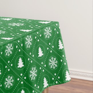 Classic Green White Snowflakes Christmas Trees Tablecloth