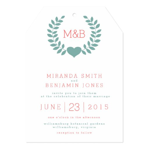 "Modern Laurel Monogram Wedding Invitation 5"" X 7"" Invitation Card (front side)"