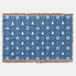 Cozy Blue White Snowflakes Christmas Trees Design Throw