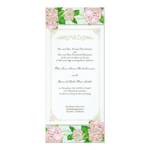 Pink Hydrangea Lace Floral Formal Elegant Weddings 4x9.25 Paper Invitation Card
