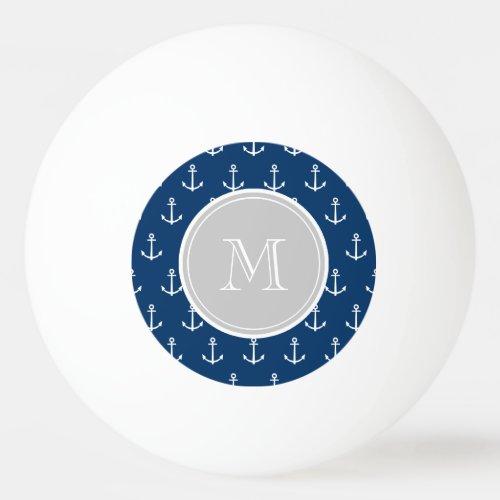 Navy Blue White Anchors Pattern Gray Monogram Ping-Pong Ball